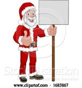 Vector Illustration of Cartoon Young Santa Claus Holding Sign Christmas Cartoon by AtStockIllustration