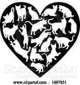 Vector Illustration of Cat Heart Silhouette Concept by AtStockIllustration