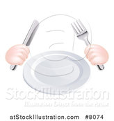 Vector Illustration of Caucasian Hands Holding a Knife and Fork by a Clean White Plate by AtStockIllustration