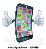 Vector Illustration of Cell Mobile Phone Mascot Character by AtStockIllustration