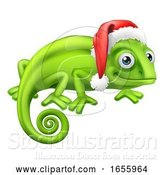 Vector Illustration of Chameleon at Christmas in Santa Hat by AtStockIllustration