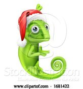 Vector Illustration of Chameleon Christmas Santa Hat Pointing at Sign by AtStockIllustration