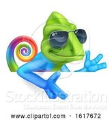 Vector Illustration of Chameleon Cool in Shades Pointing at Sign by AtStockIllustration