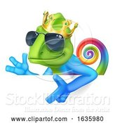 Vector Illustration of Chameleon Cool King Lizard Character by AtStockIllustration