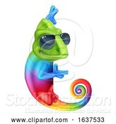 Vector Illustration of Chameleon Cool Sunglasses Pointing Sign by AtStockIllustration