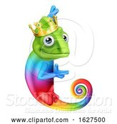 Vector Illustration of Chameleon King Crown Lizard Character by AtStockIllustration