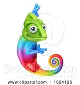 Vector Illustration of Chameleon Peeking Around Sign Pointing by AtStockIllustration