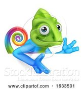 Vector Illustration of Chameleon Peeking over Sign Pointing by AtStockIllustration