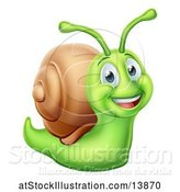 Vector Illustration of Cheerful Green Snail by AtStockIllustration
