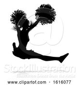 Vector Illustration of Cheerleader Pom Poms Silhouette, on a White Background by AtStockIllustration