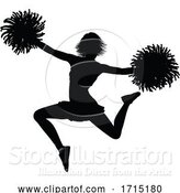 Vector Illustration of Cheerleader Silhouette by AtStockIllustration