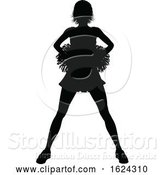 Vector Illustration of Cheerleader with Pom Poms Silhouette by AtStockIllustration