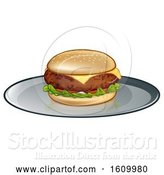 Vector Illustration of Cheese Burger on Plate by AtStockIllustration