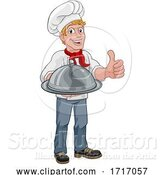 Vector Illustration of Chef Cook Guy Holding a Dome Tray by AtStockIllustration