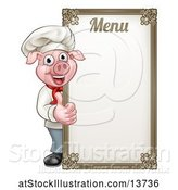 Vector Illustration of Chef Pig Giving a Thumb up Around a Menu Board by AtStockIllustration