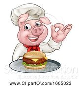Vector Illustration of Chef Pig Holding a Cheeseburger on a Tray and Gesturing Perfect by AtStockIllustration