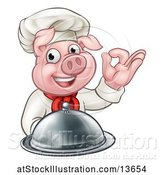 Vector Illustration of Chef Pig Holding a Cloche and Gesturing Okay by AtStockIllustration