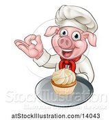 Vector Illustration of Chef Pig Holding a Cupcake on a Tray and Gesturing Okay by AtStockIllustration