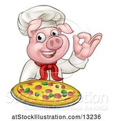 Vector Illustration of Chef Pig Holding a Pizza and Gesturing Perfect by AtStockIllustration