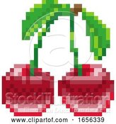 Vector Illustration of Cherry Pixel Art 8 Bit Video Game Fruit Icon by AtStockIllustration