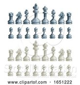 Vector Illustration of Chess Pieces Set 8 Bit Pixel Video Game Art Icons by AtStockIllustration