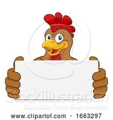Vector Illustration of Chicken Rooster Cockerel Holding Sign by AtStockIllustration