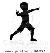 Vector Illustration of Child Silhouette, on a White Background by AtStockIllustration