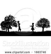 Vector Illustration of Children Playing in the Park Silhouette by AtStockIllustration