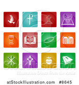 Vector Illustration of Christian Icons over Colorful Tiles by AtStockIllustration