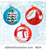 Vector Illustration of Christmas Bauble Ornaments with a Snowflake Background by AtStockIllustration