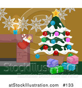 Vector Illustration of Christmas Decorations by a Hearth in a Home, Christmas Tree and Stocking by AtStockIllustration