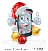 Vector Illustration of Christmas Mobile Cell Phone in Santa Hat by AtStockIllustration