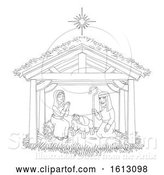 Vector Illustration of Christmas Nativity Scene Coloring by AtStockIllustration