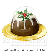 Vector Illustration of Christmas Pudding Topped with Holly and Berries, on a Gold Plate by AtStockIllustration
