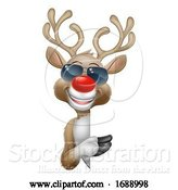 Vector Illustration of Christmas Reindeer Deer in Sunglasses Sign by AtStockIllustration