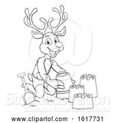 Vector Illustration of Christmas Reindeer on Beach Making Sandcastles by AtStockIllustration