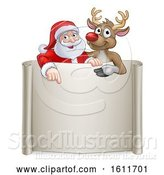 Vector Illustration of Christmas Santa Claus and Reindeer Sign by AtStockIllustration