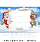 Vector Illustration of Christmas Santa Claus and Reindeer with a Blank Sign in a Winter Landscape by AtStockIllustration