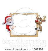 Vector Illustration of Christmas Santa Claus and Reindeer with a Blank Sign with Snow by AtStockIllustration