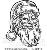 Vector Illustration of Christmas Santa Claus Face Retro Woodcut Style by AtStockIllustration
