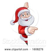 Vector Illustration of Christmas Santa Claus Pointing Around a Sign by AtStockIllustration