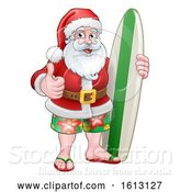 Vector Illustration of Christmas Santa Claus Surf by AtStockIllustration