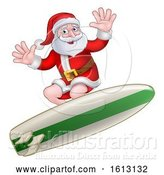 Vector Illustration of Christmas Santa Claus Surfing by AtStockIllustration