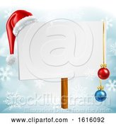 Vector Illustration of Christmas Sign Santa Hat Baubles Winter Snow Scene by AtStockIllustration