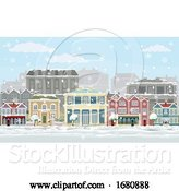 Vector Illustration of Christmas Snow Houses and Shops Street Scene by AtStockIllustration