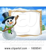 Vector Illustration of Christmas Snowman by a Blank Sign in a Winter Landscape by AtStockIllustration