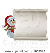 Vector Illustration of Christmas Snowman Wearing a Scarf and a Santa Hat by a Blank Scroll by AtStockIllustration