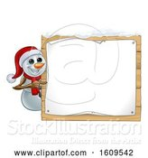 Vector Illustration of Christmas Snowman Wearing a Scarf and a Santa Hat by a Sign by AtStockIllustration