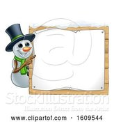 Vector Illustration of Christmas Snowman Wearing a Scarf and a Top Hat by a Blank Sign by AtStockIllustration
