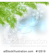 Vector Illustration of Christmas Tree Branches with Snowflakes - Background Design by AtStockIllustration